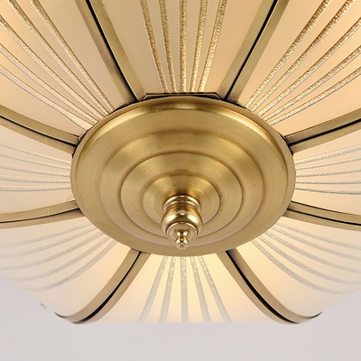 Opaline Glass Brass Ceiling Flush Dome 4 Heads Colonialist Flush Mount Lamp for Entry