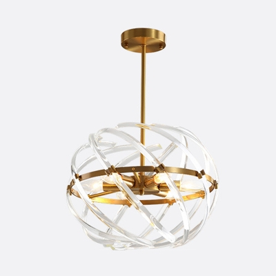 Orbit Curved Crystal Rod Chandelier Light Postmodern 6 Heads Gold Hanging Ceiling Light