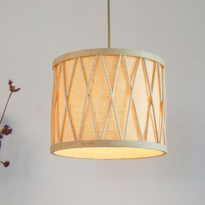 Plastic And Bamboo Drum Ceiling Hanging Lamp 1 Light Modern Mini Pendant Light In Beige Beautifulhalo Com