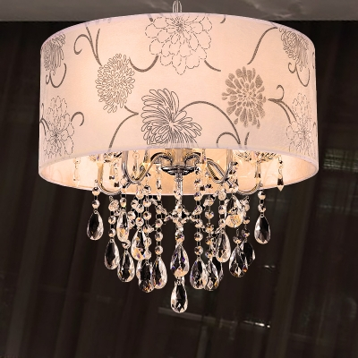 Printing Fabric Shade Pendant Light Crystal Vintage 5 Lights Ceiling Chandelier with Flower Pattern in Chrome