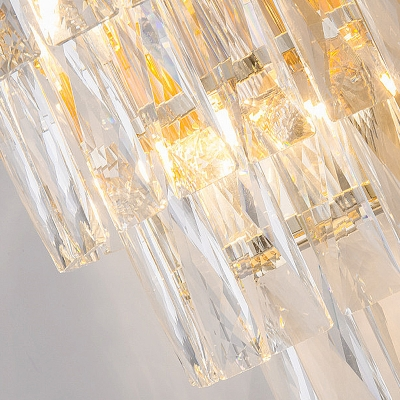 Rectangle-Cut Crystal 4 Layers Wall Light Contemporary Gold Sconce Light Fixture