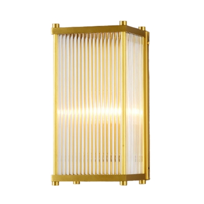 Rectangular Crystal Rod Sconce Lamp Postmodern 1/2 Lights Gold Wall Mounted Light for Living Room