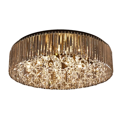 Simple Style Circular Flush Mount Light Black Crystal Rod 4 Heads Living Room Ceiling Lamp in Warm/White Light