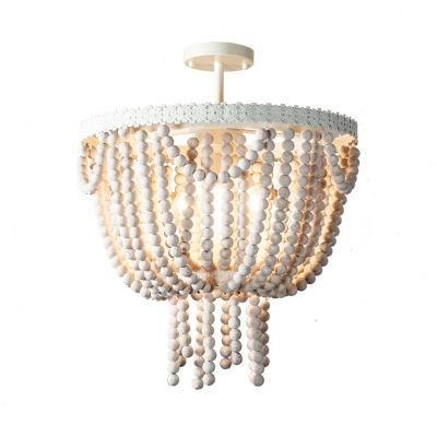 Wooden Beaded Bowl Shape Ceiling Pendant French Style 4 Lights Living Room Chandelier Lamp in White