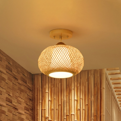 1 Head Bamboo Cage Ceiling Light Chinese Style Foyer Semi Flush Mount Light in Wood, 10/14/16 Inch Wide