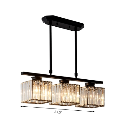 3/4 Lights Square Hanging Ceiling Light Modernism Clear Faceted Glass Dining Room Lighting in Black/Gold
