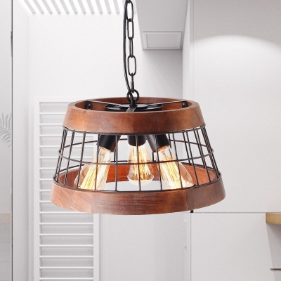 3 Lights Living Room Hanging Pendant Traditional Wood Ceiling Chandelier with Drum Metal