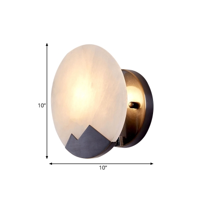 Black 1-Light Flush Mount Colonialism Marble Circular Wall Light Fixture for Study, 8