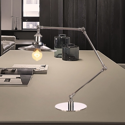 Chrome Finish Tapered Table Lighting Industrial Style 1 Light Metal Table Lamp with 8