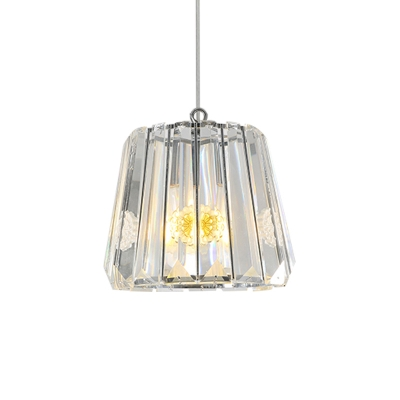 Clear Crystal Glass Trapezoid Drop Pendant Simple Single Light Black Suspension Lamp