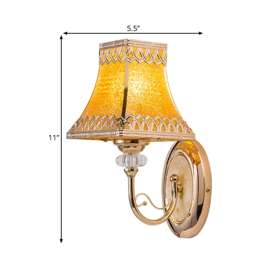Colonial Flared Sconce Light 1-Bulb Beveled Glass Wall Lighting Fixture in Gold for Indoor