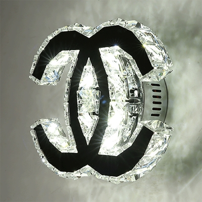 Double C-Shaped Sconce Light Crystal Modernist LED Wall Light Fixture in Chrome, Warm/White Light