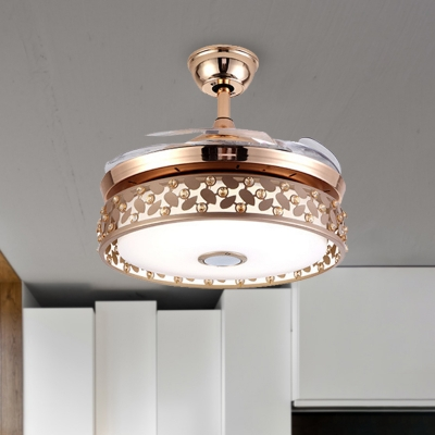 Gold Drum Ceiling Fan Lamp Modern Led Metal Semi Flush Mount Light For Dining Room Beautifulhalo Com