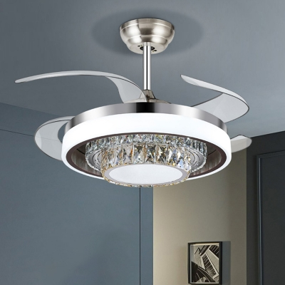 Modern Circular Ceiling Fan Light Cut Crystal Led Flush Mount In Silver With Remote Control Frequency Conversion Beautifulhalo Com
