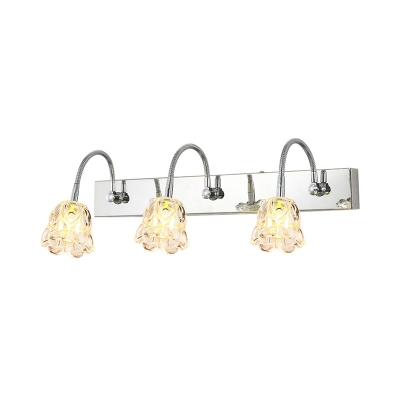Modern Style Flower Vanity Sconce Light Clear Glass 3 Lights Bathroom Wall Lamp with Gooseneck Arm in Silver