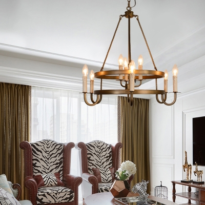 Open Bulb Metal Chandelier Lighting Vintage 9 Lights Dining Room Suspension Pendant Light in Bronze