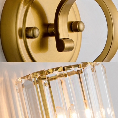Postmodern Cylinder Sconce Light Rectangle-Cut Crystal 1 Light Wall Mount Light in Brass