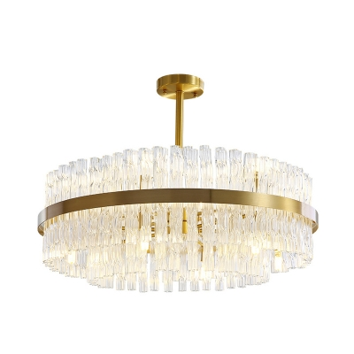 Postmodern Drum Hanging Light Fluted Crystal 8 Heads Dining Room Chandelier Lamp in Gold