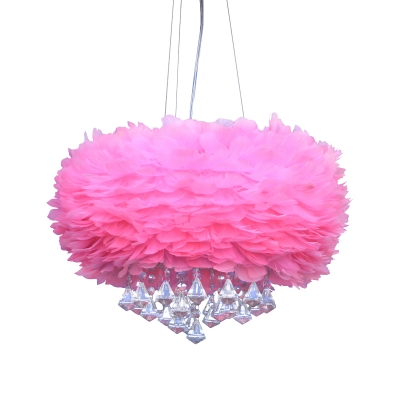 Round Feather Chandelier Light Modern 1 Light Pink Hanging Pendant Light with Crystal Drop