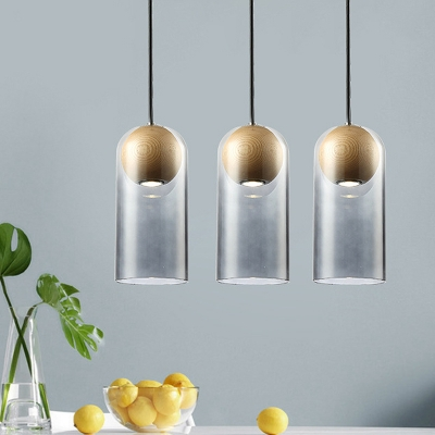 Smoke Gray Glass Cylinder Hanging Light Fixture Modern 1 Head Suspension Pendant with Inner Wood Shade