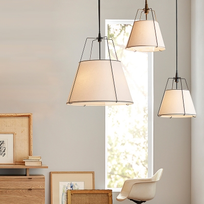 3 Lights Fabric Suspension Lighting Country Style White Tapered Dining Room Chandelier with Iron Frame