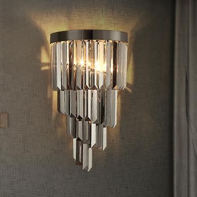 4 Layers Living Room Wall Lamp Smoke Gray Three Side Crystal Rod 2 Heads Postmodern Sconce Light Fixture