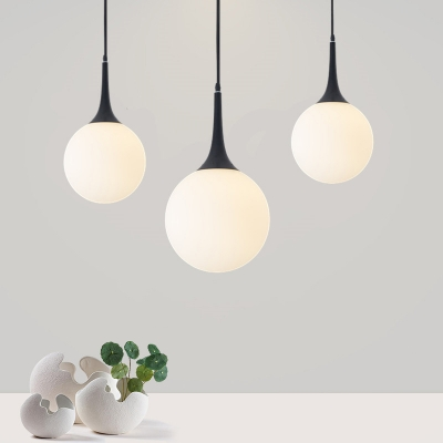 Ball White Glass Ceiling Pendant Light Minimalist 6
