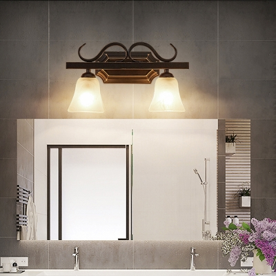 Black Bell Sconce Traditional Frosted Glass 2/3 Light Bathroom Wall Mounted Vanity Light