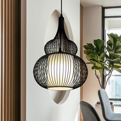 Black Round/Gourd/Lantern Pendant Ceiling Light Country Fabric 1 Light Living Room Hanging Lamp
