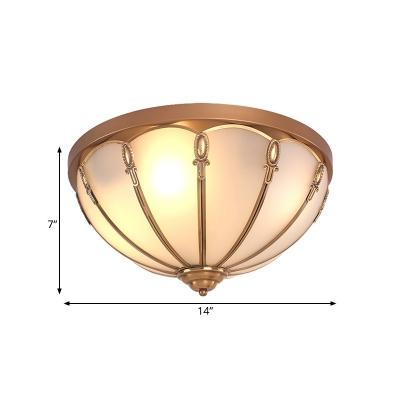 Brass 3/4 Heads Flush Mount Lamp Colonialism White Glass Scalloped Ceiling Light for Bedroom