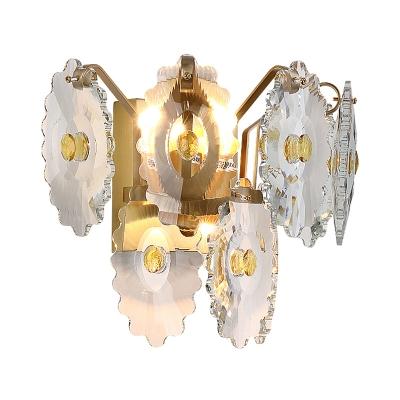 Clear Crystal Gear Wall Light Fixture Modern 2 Lights Wall Sconce Light with Green/Gold Gem
