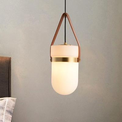 Cylinder Bedroom Pendant Lighting Modern White Glass 1 Light Hanging Lamp Kit