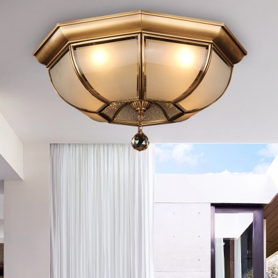 Dome Flush Light Fixture Postmodern Frosted Glass 3/4 Heads Brass LED Ceiling Lamp with Crystal Drop, HL577270