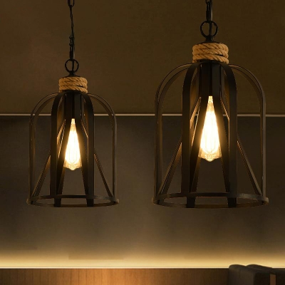 "Industrial Caged Pendant Lighting Iron Matter Black Hanging Ceiling Light for Restaurant with 27.5"" Chain, HL564377"