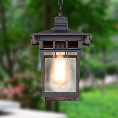 Industrial Lantern Hanging Lighting Metal and Clear Glass 1 Light Black/Bronze/Gold Outdoor Pendant Lamp for Porch