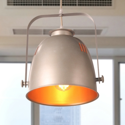 Industrial Style Bucket Ceiling Light Metallic 1 Bulb Farmhouse Hanging Light Fixture in Gold