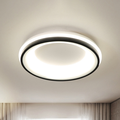 LED Bedroom Flush Mount Light Nordic Black Ceiling Lamp with Drum Metallic Frame in Warm/White Light/Remote Control Stepless Dimming