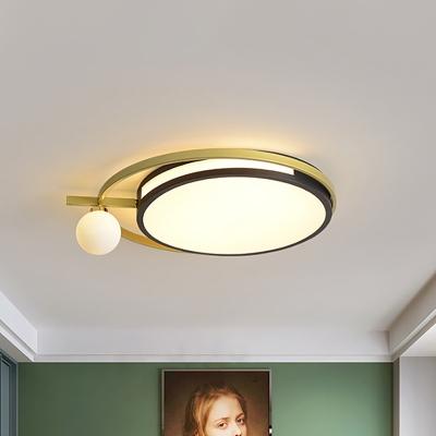 LED Round Flush Lighting with Globe Shade Nordic Acrylic Led Flushmount Light in Black/Grey