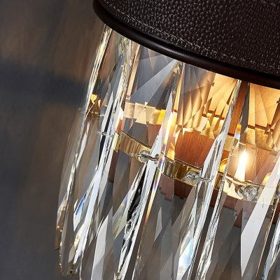 Postmodern Column Sconce Light Fixture Faceted Clear Crystal Prism 2 Lights Bedroom Wall Lamp with Black Leather Belt