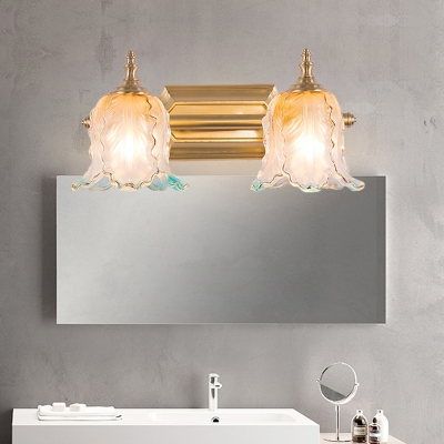 Textured Glass Scalloped Vanity Lighting Classic 1 2 3 Light Bathroom Wall Mounted Lamp In Gold For Bathroom Beautifulhalo Com