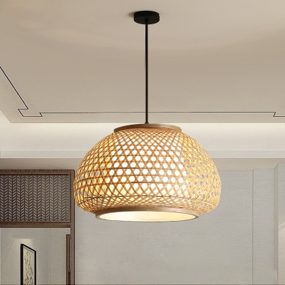 Woven Basket Hanging Lighting Fixture Chinese Style 1 Head Suspension Lamp for Dining Table, 16
