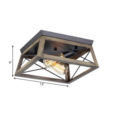 2-Light Wood Ceiling Lamp Farmhouse Brown Cuboid Frame Flush Mount Light Fixture