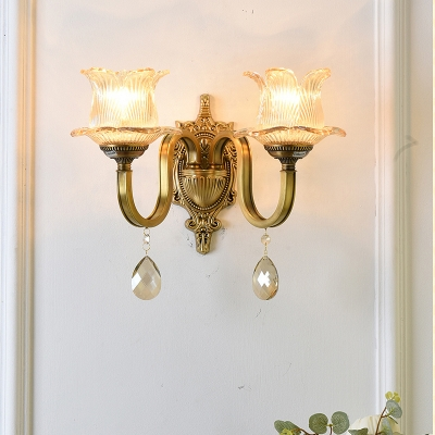 Brass Flower Sconce Light Modern 1/2 Heads Clear Glass Wall Light Fixture with Crystal Drop, HL572806