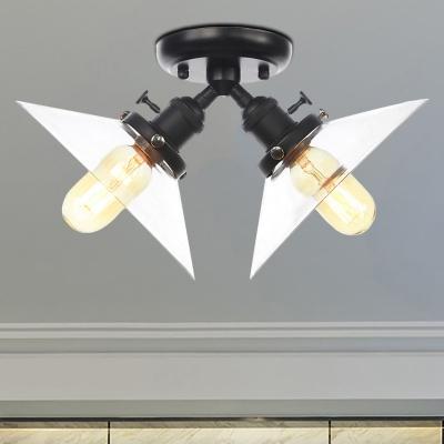 Clear Glass Cone Semi Mount Lighting Industrial Style 2 Bulbs Black/Bronze Ceiling Mounted Light for Restaurant, Black;bronze;rose gold;brass;chrome;copper, HL571679