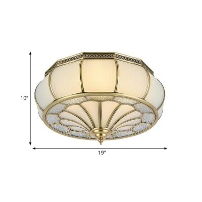 Colonial Drum Ceiling Mounted Light 4 Bulbs Prismatic Opaline Glass Flush Mount Light Fixture in Brass