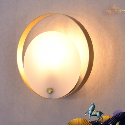 Colonialist Round Flush Mount 1 Head Acrylic Wall Mounted Light in White for Living Room