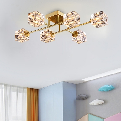 Cubic Semi Flush Mount Light Postmodern Dimple Crystal 4/6 Heads Gold Ceiling Fixture, HL577261