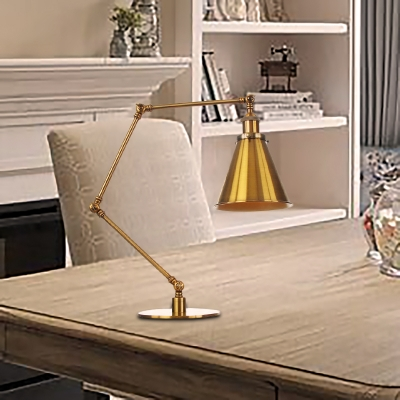 Golden Flared Shade Table Lamp Industrial Stylish 1 Bulb Metallic Table Light with 8