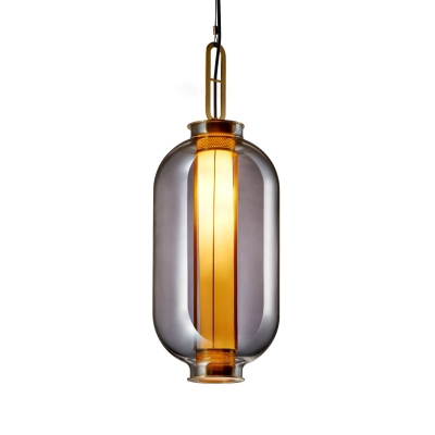 Modernism Urn Pendant Lighting Smokey Glass 1 Head Bedroom Hanging Ceiling Light