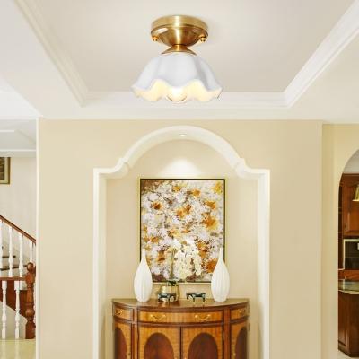 Opal Glass Brass Ceiling Flush Scallop Single Head Colonialist Flush Mount Lamp for Hallway